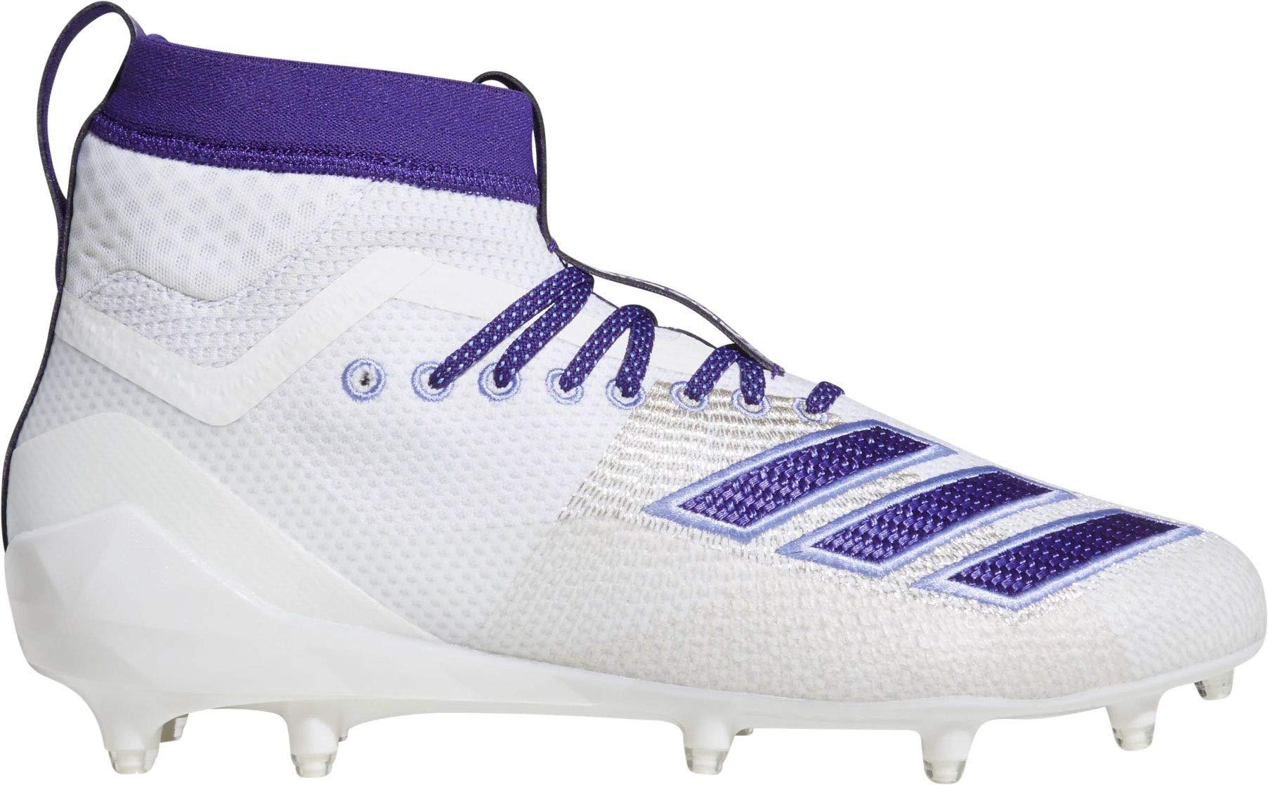 adidas Men's Adizero 8.0 SK Football Shoe, White/Collegiate Chalk Purple, 6.5 M US
