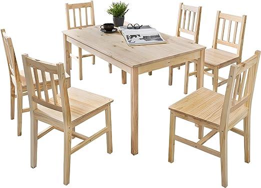 Massivholz Tischgruppe set 7teilig Kiefer weiß Sitzgruppe