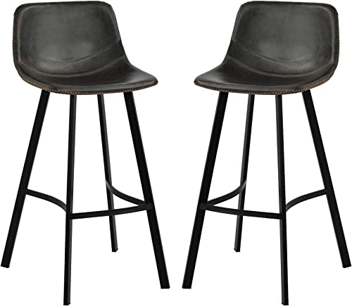 Merax Vintage Barstools Low Back Footrest Leather Height Bar Stools Dining Chairs Set of 2 Grey