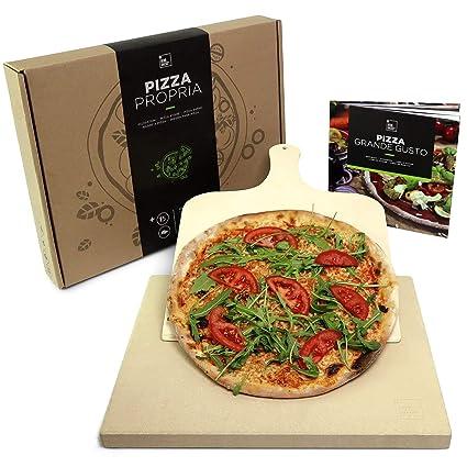 #benehacks Piedra para Pizza Pizza Propria Horno 3 cm, Barbacoa y Parrilla | Incluye Pala para Pizzas & Libro de Recetas & Embalaje Regalo