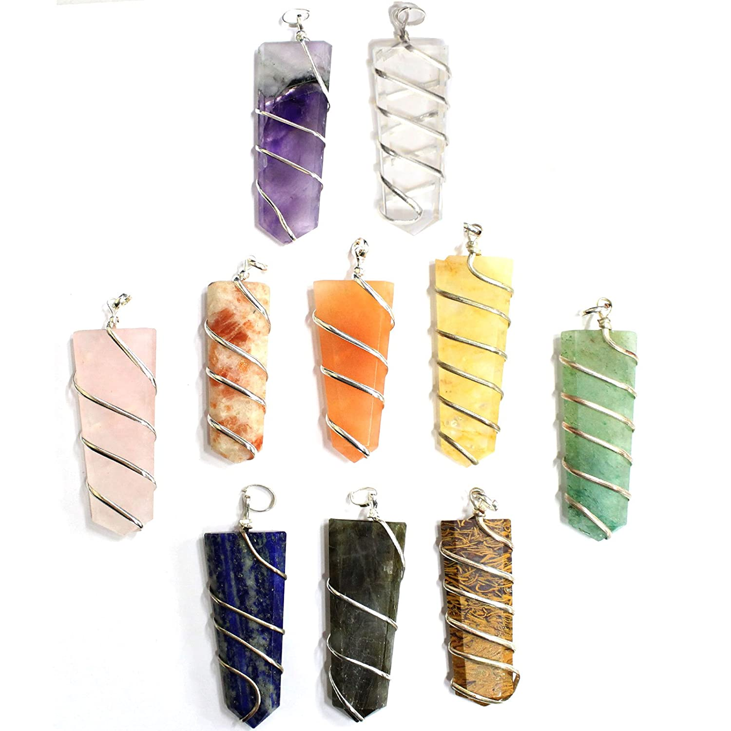 AM16B1 Rp COA Set of 10 Silver Plated Spiral Gemstone Pendants Silver Plated Bail