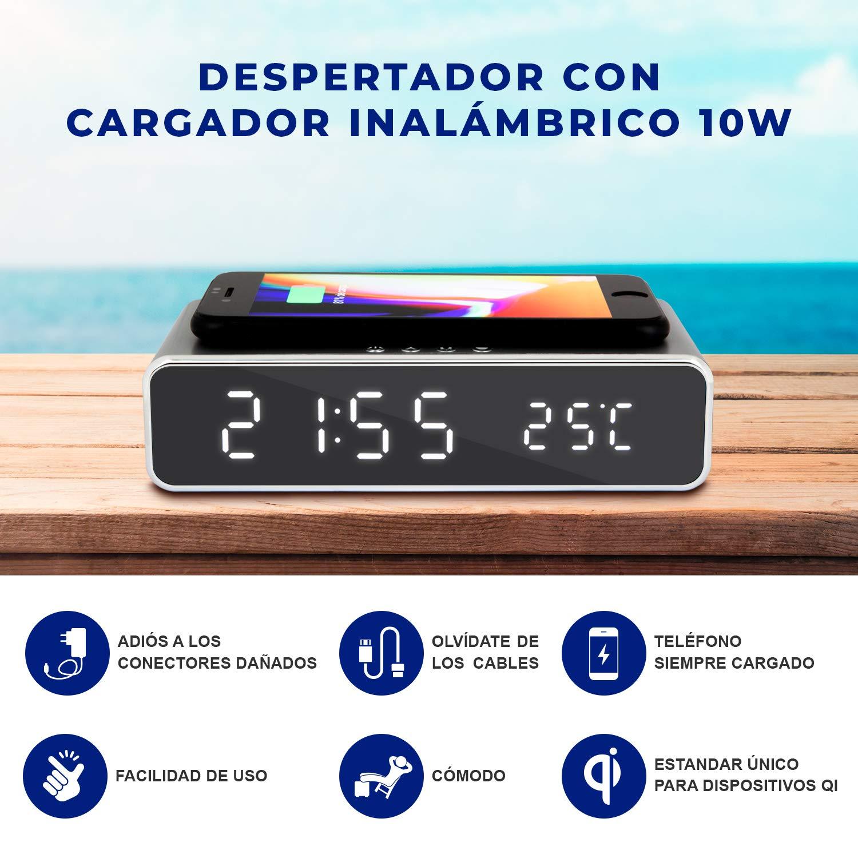 Despertador Digital con Cargador inalámbrico ⚡10w⚡ para móviles con función Qi. Reloj Digital con Temperatura y Base de Carga rápida. Carga ...