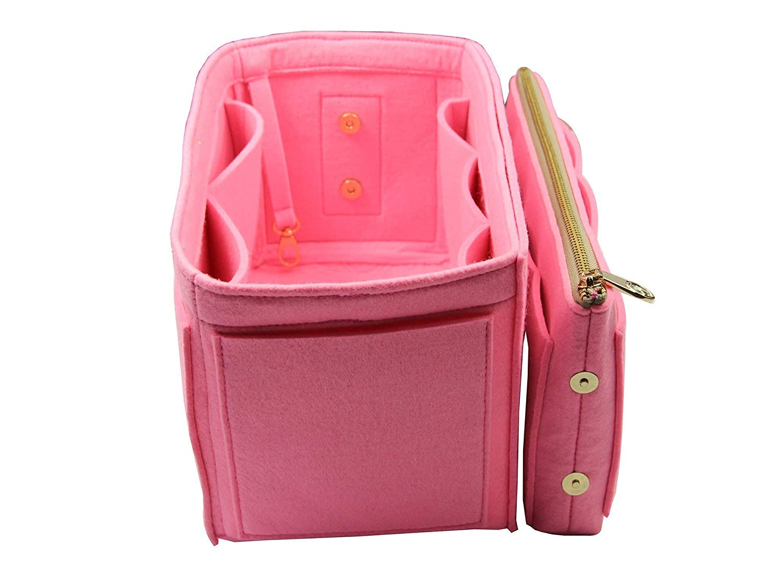 Fits Artsy MM, Pink Purse Insert Felt Tote Bag Organizer 3mm Felt, Detachable Pouch w//Metal Zip