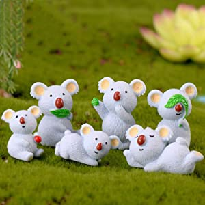 Ruzucoda Miniature Koala Bear Figure Animal Toys Fairy Garden Party Decorations 6 PCS