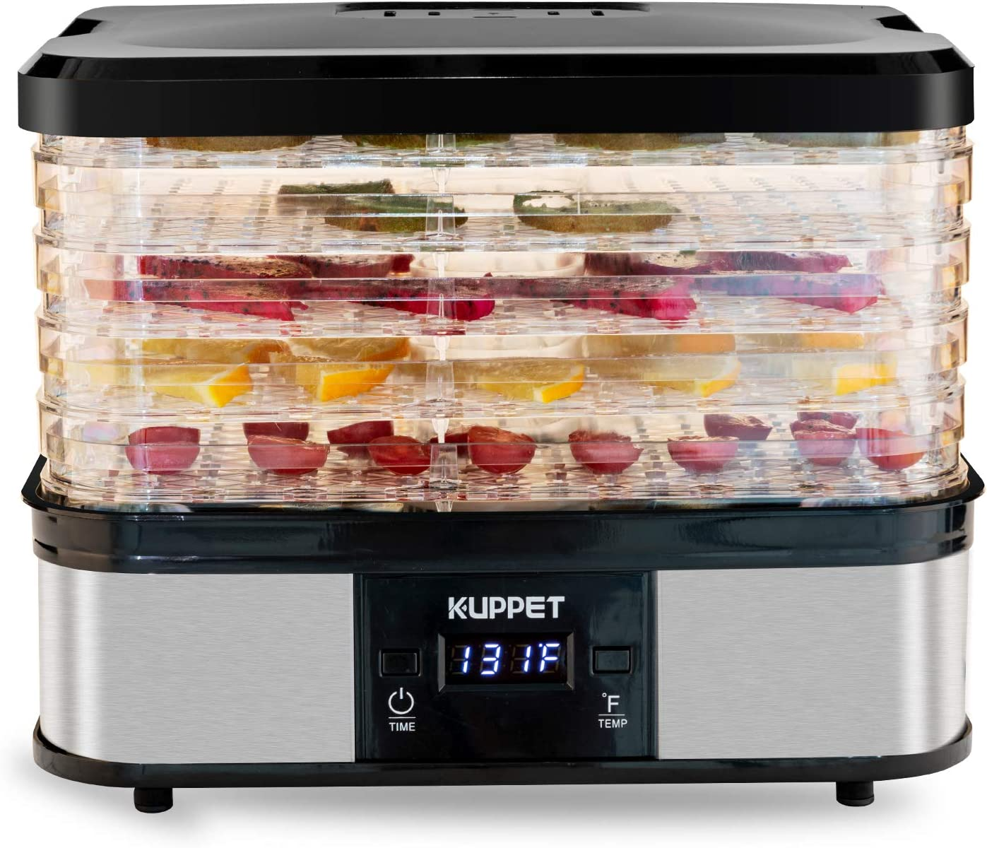 KUPPET Food Dehydrator Machine, Electric Food Drying Machine with Adjustable Thermostat, Meat or Beef Jerky Maker in Home/Kitchen, Digital Temperature & LCD Display, 5-Tray