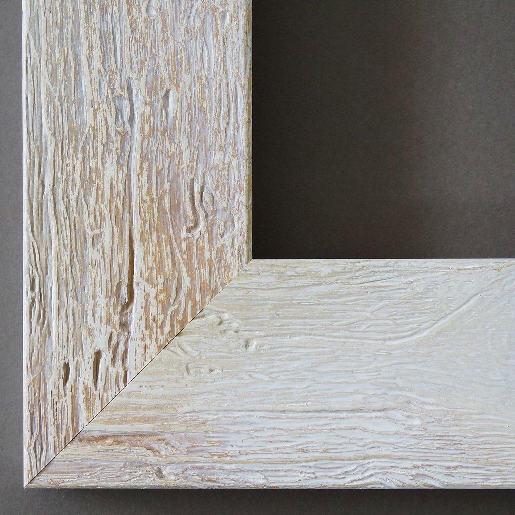Bilderrahmen Beige Weiß - 40 x 50 cm mit Museumsglas - Modern, Shabby, Landhaus - Alle Größen - Handgefertigt - Galerie-Qualität - WRU - Capri 5,8