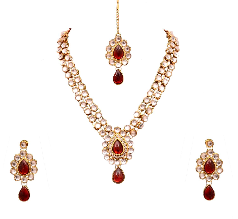 Buy Sitashi Imitation fashion Multi Color Kundan Polki Necklace Set