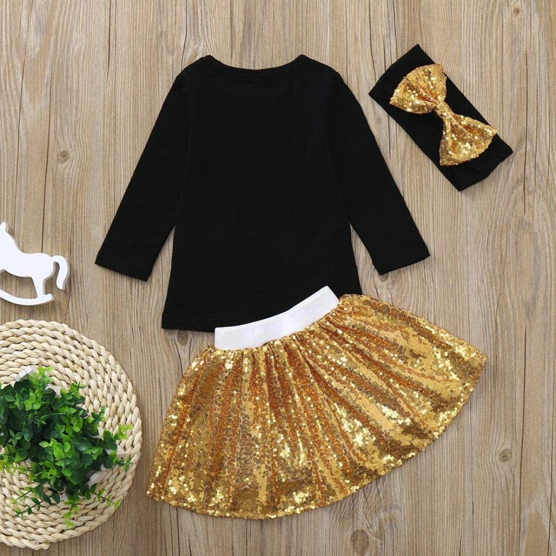 Baby Kid Outfits,Fineser 3Pcs Infant Toddler Baby Girls Kids Letter Print Tops++Sequins Skirt+Headband Clothes Set Outfits