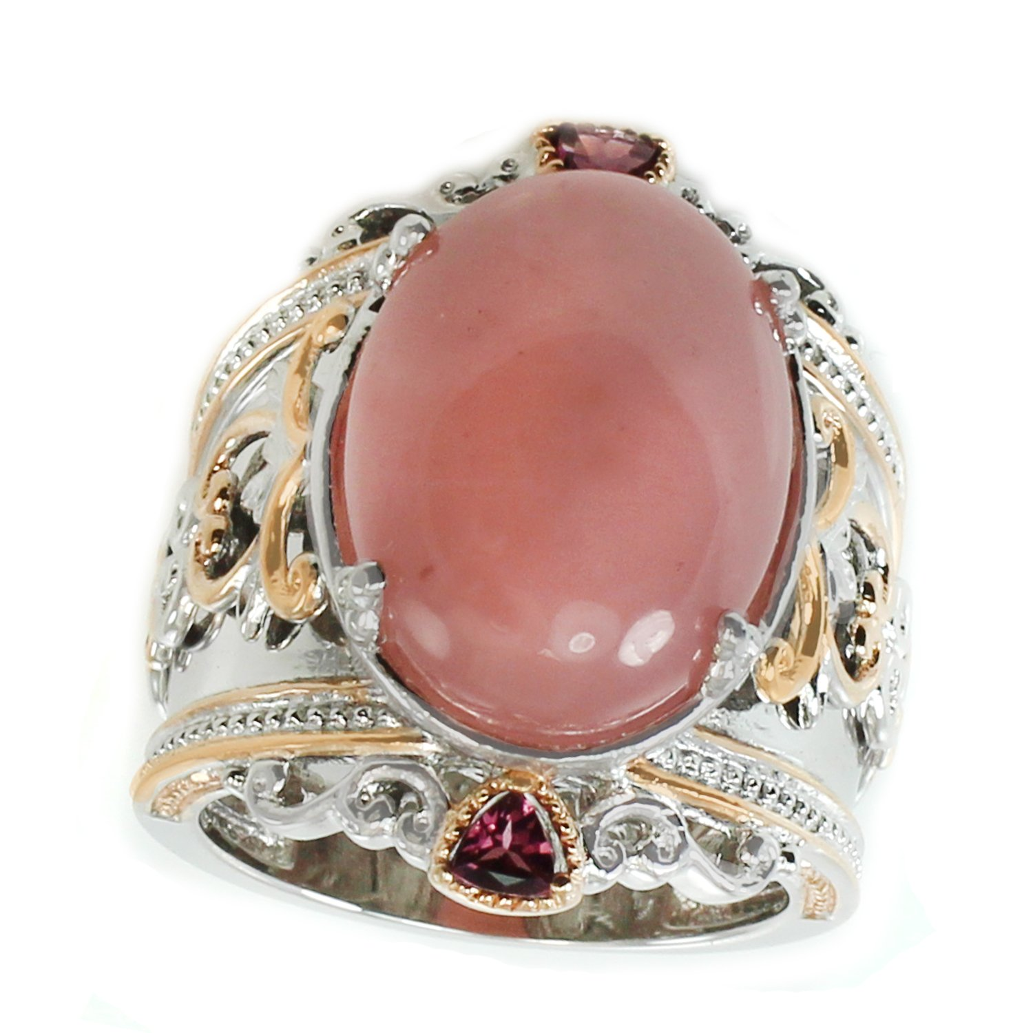 Michael Valitutti Palladium Silver Pink Chalcedony & Rhodolite Wide Band Ring by Michael Valitutti