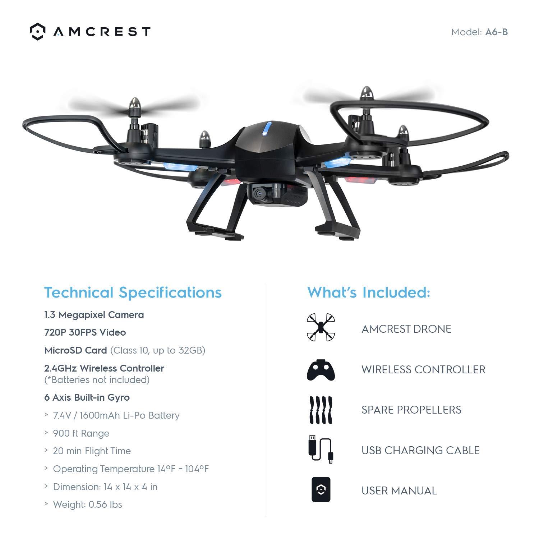 Amcrest A6-B Skyview Pro RC WiFi Drone con cámara HD 720p FPV ...