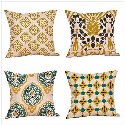 Cojines Sofas Vintage, Zolimx 4 Pack Colorido Otoño Flor ...