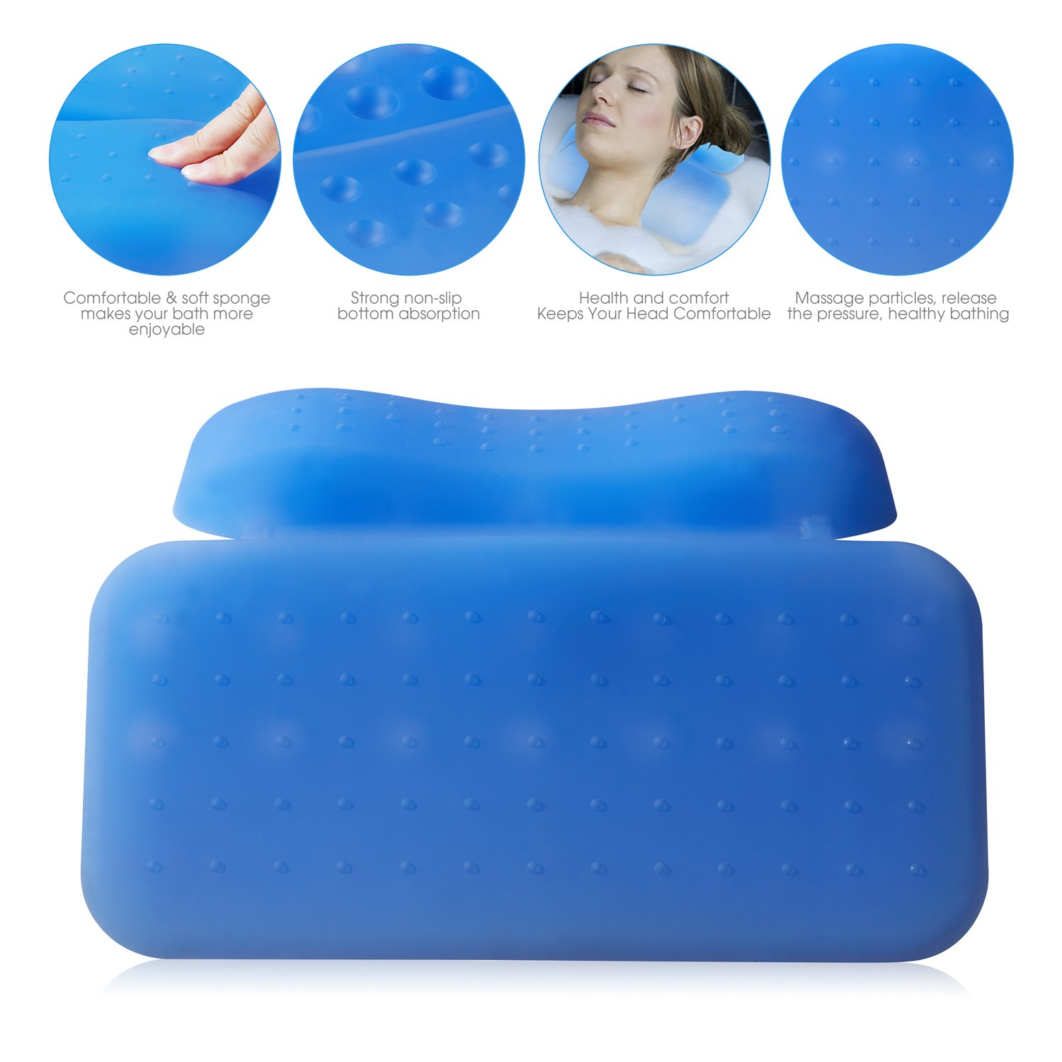 Luxurious Silicone Bathtub Pillow 14'' x 10'',2-Panel Design for Shoulder & Neck Support. Non-Slip, Extra Thick, Soft and Large, Anti-bacterial by Silicone. Fits Any Size Tub. Luxury Spa Tub Pillows. by Universal product (Image #5)