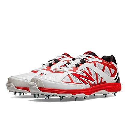New Balance CK 10 AB Cricket Spikes, 9.5 UK (White/Red)