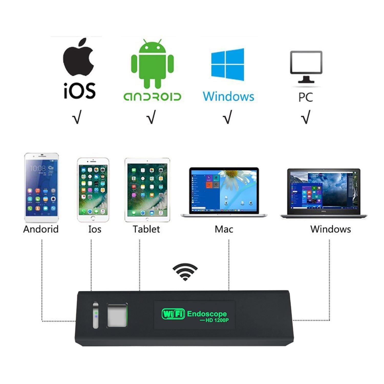 iPhone WiFi endoscopio impermeable Inspecci/ón C/ámara de v/ídeo endosc/ópica con 2/Mpx 1200P HD boreskope serpiente c/ámara para Android y iOS Smartphone Samsung Kobwa Wireless C/ámara endosc/ópica Table
