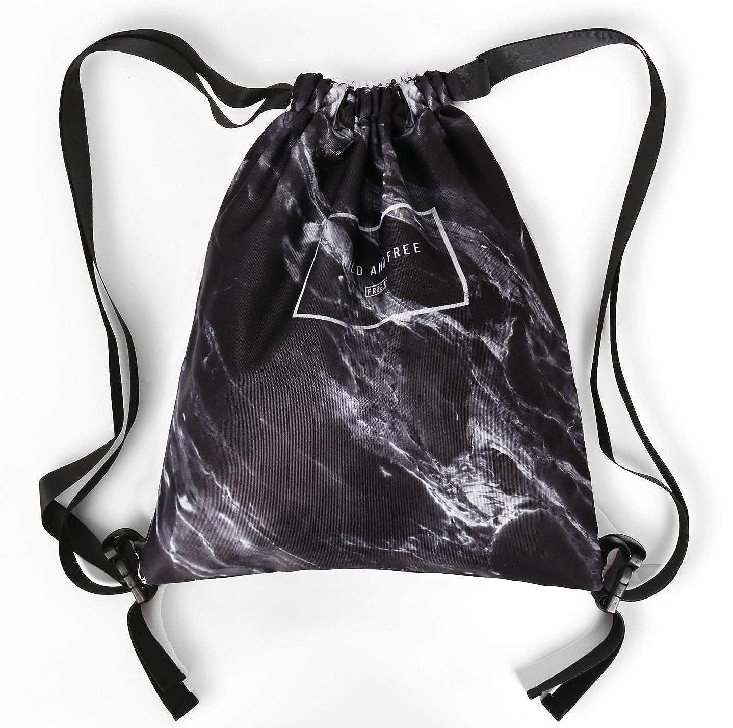 amazhu DrawstringバックパックFoldable Cinch Sack基本Sackpackジムトートバッグダンスバッグfor Swimmingショッピングスポーツレディースメンズボーイズガールズ B07HB44ST4 Marbleblack