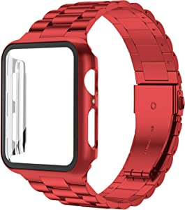 baozai Compatible with Apple Watch Band 40mm with Case, Stainless Steel Band and Full Cover with iWatch Glass Screen Protector for Series 6/5/4/SE (Red Band + Case, 40mm)