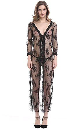 f087829a6bbb ThreeH Women s Sexy Lingerie Long Lace Robe Translucent Dress Sleep ...