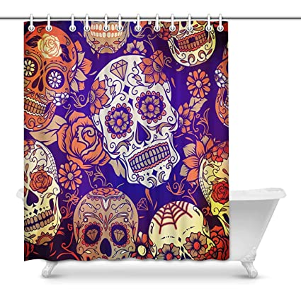 Image Unavailable Not Available For Color INTERESTPRINT Sugar Skull And Rose Day Of The Dead Shower Curtain