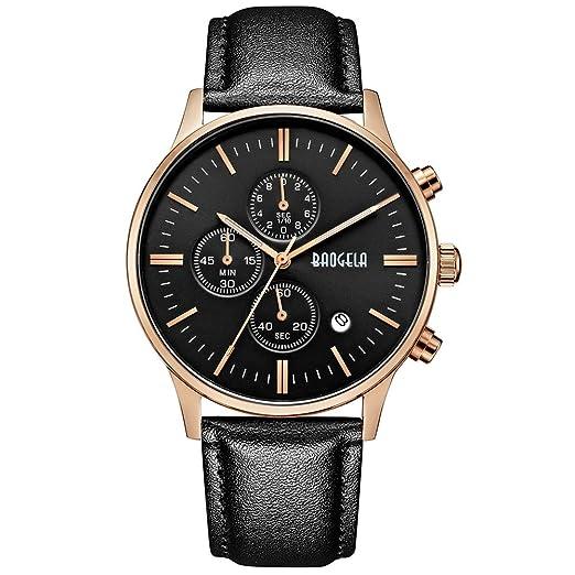 MEGIR Relojes Vintage Hombre Oro rosa Analogico de cuarzo, correa elegante de piel negro, cronógrafo y impermeable: Amazon.es: Relojes