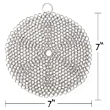 "LauKingdom Cast Iron Cleaner, 7""x7"" Stainless Steel Cast Iron Cleaner 316L Chainmail Scrubber for Cast Iron Pan,  Round"