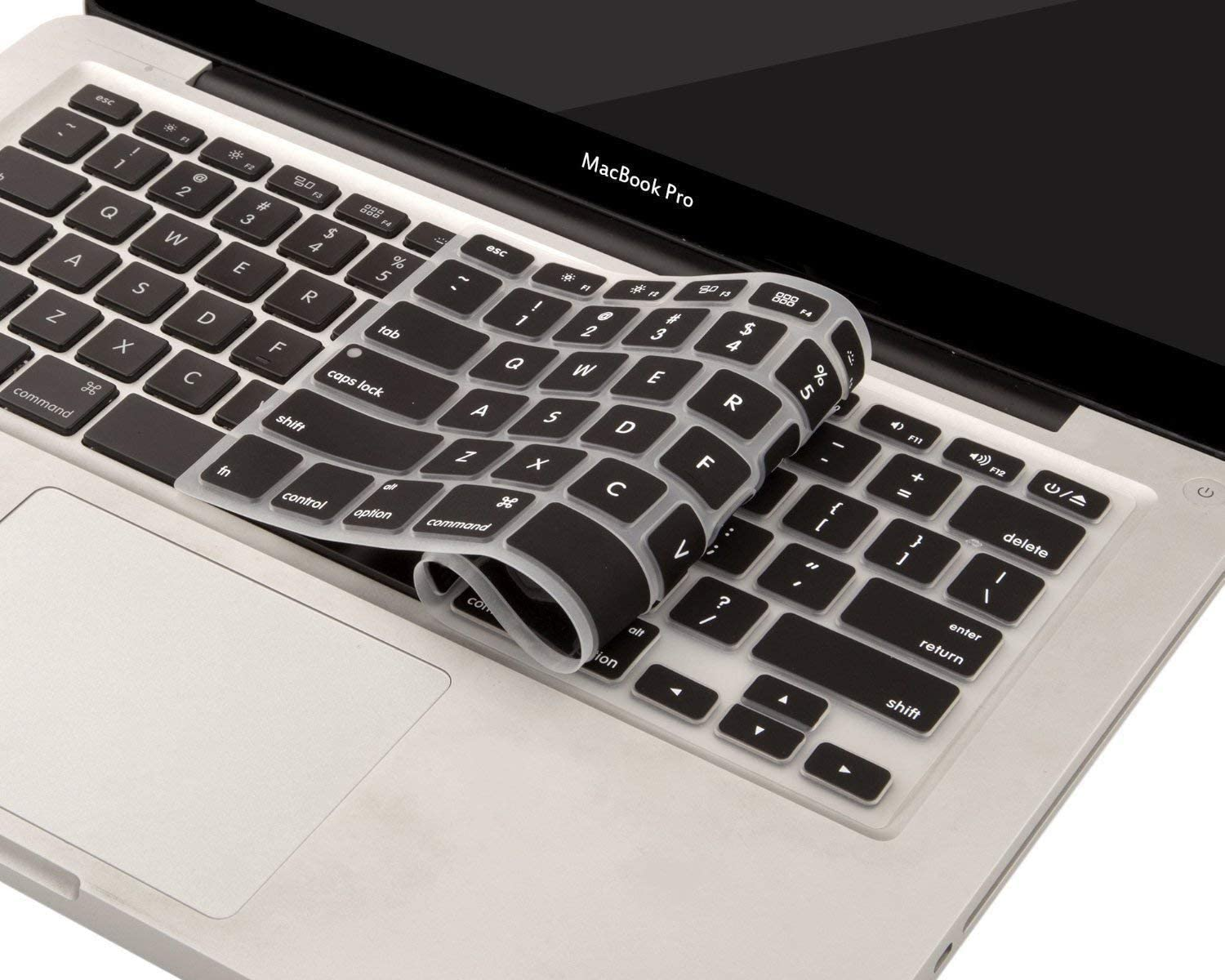 Saco Silicone Keyboard Protector Skin Cover for/Apple MacBook Air MJVE2HN//A 13-inch Laptop/-Black with Clear