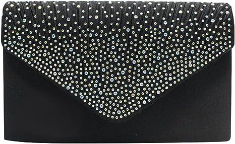 Wiwsi Various Color Purse Handbag Lady Party Satin Pleated Diamante Clutch Bag(Black)