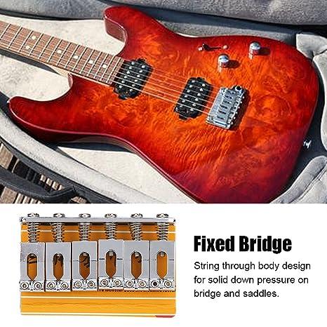 Guitarra eléctrica de 6 cuerdas Fijo puente Metal Plata Fijo Hardtail Saddle Puente de Carga Superior