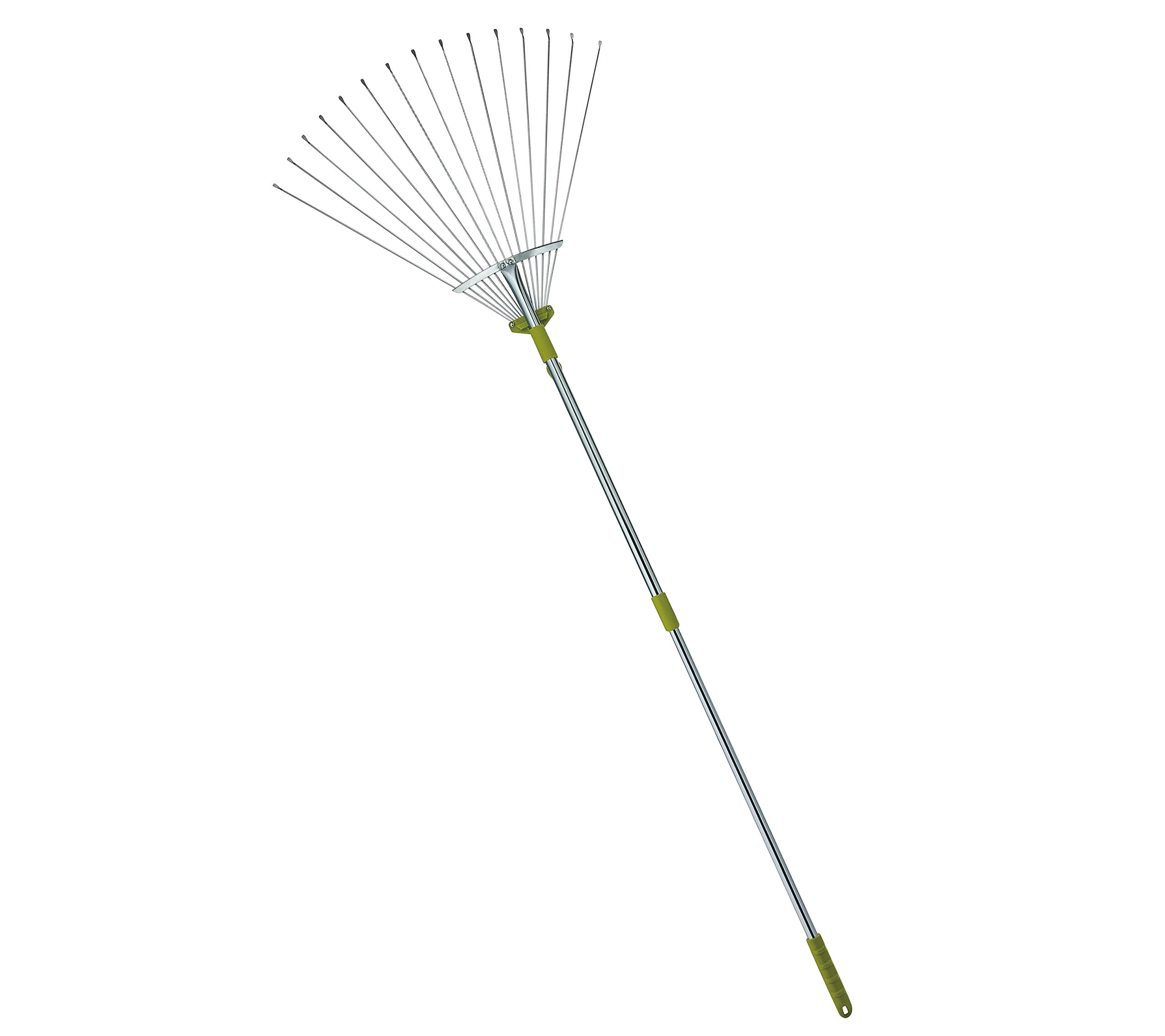 MLTOOLS 64-inch Adjustable Garden Leaf Rake - Flat Tine Adjustable Steel Rake with Extendable Handle R8236 - Special Offer!