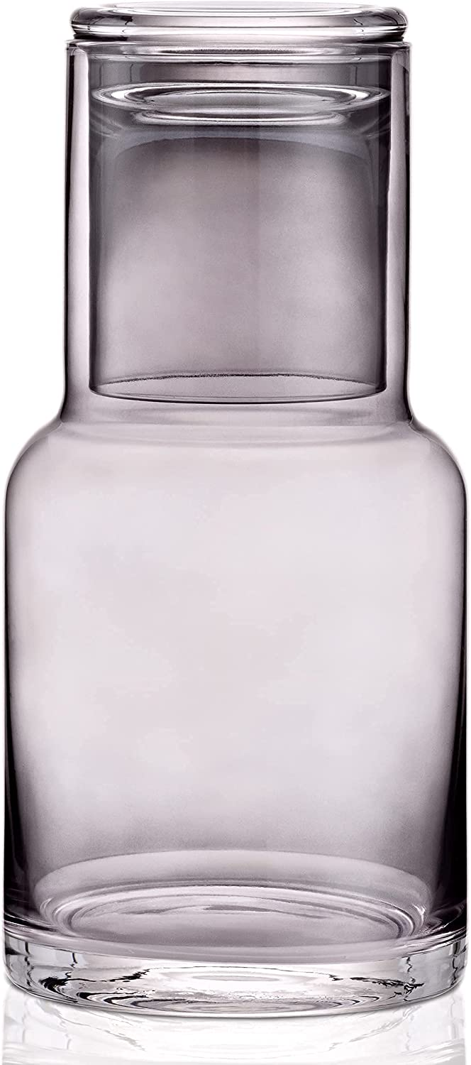 Bedside Water Carafe in GREY glass for nightstand decor and glass water dispenser or a mouthwash decanter Glass drink dispenser with cup lid keeps water clean and fresh