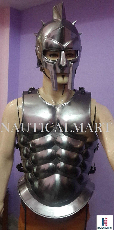 NAUTICALMART Gladiator Roman Maximus Style Helmet Armor W/Spikes+ Muscle Jacket Greek Costume by NAUTICALMART