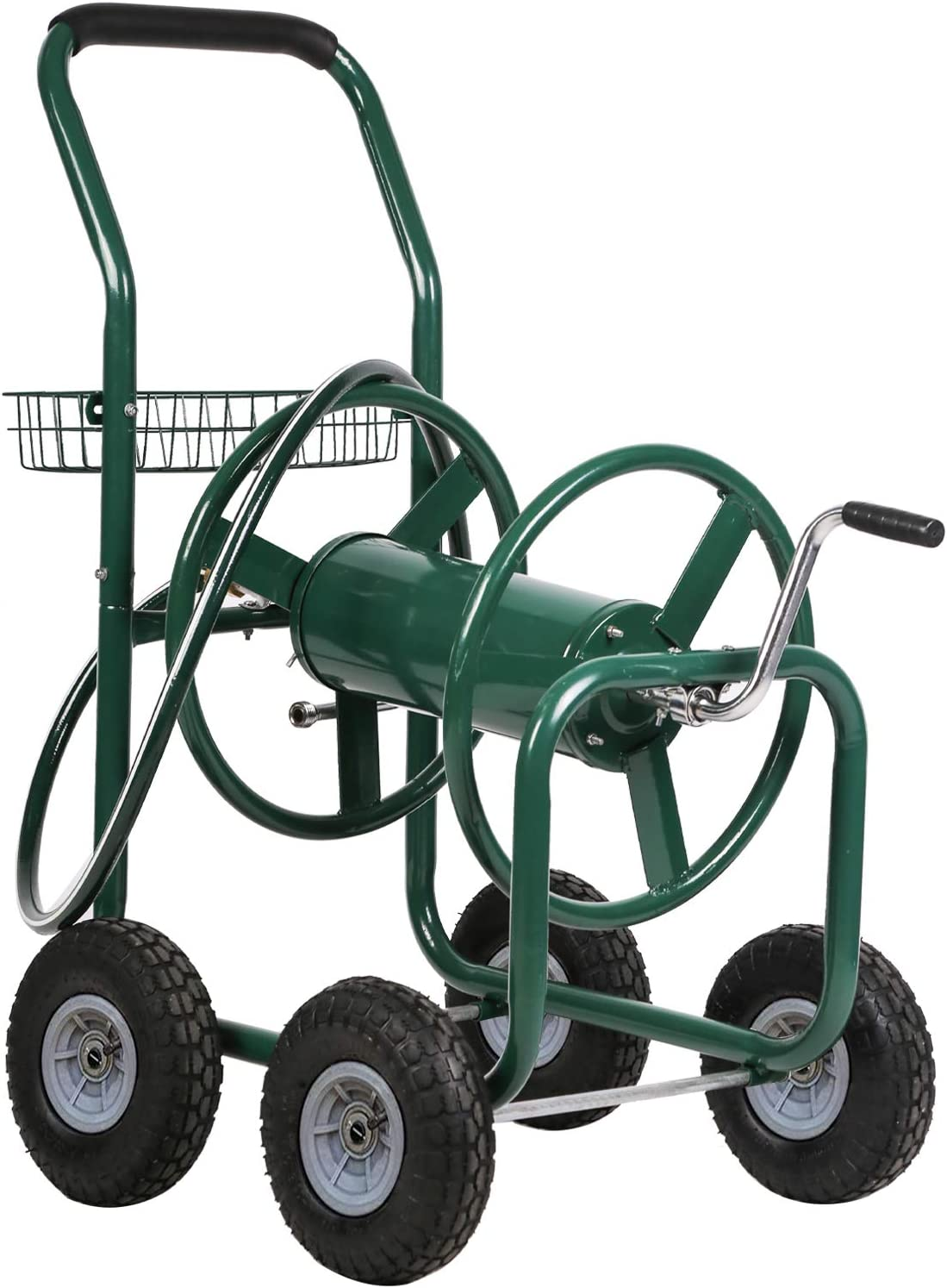 FDW Garden Hose Reel Cart with Wheels Reel Cart Tools Outdoor Yard Water Planting Truck Heavy Duty Water Planting (Green)