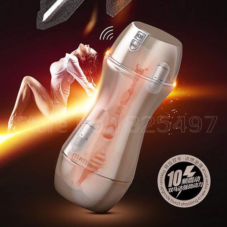Safe 10 Modes Vibration Electric Male w/Strong Sucker Men Artificial Vagina,NO Retail Box White,RetailBoxGold