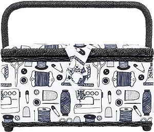 Singer Medium Rectangle Sewing Basket Box for Organizing Notions (Black White Notions)