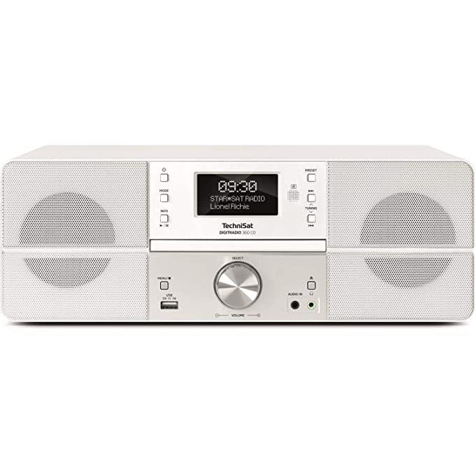TechniSat DIGITRADIO 360 CD Digital-Radio mit CD-Player, 2 x 5 Watt Stereo-Lautsprecher, Display, Fernbedienung, DAB+, weiß