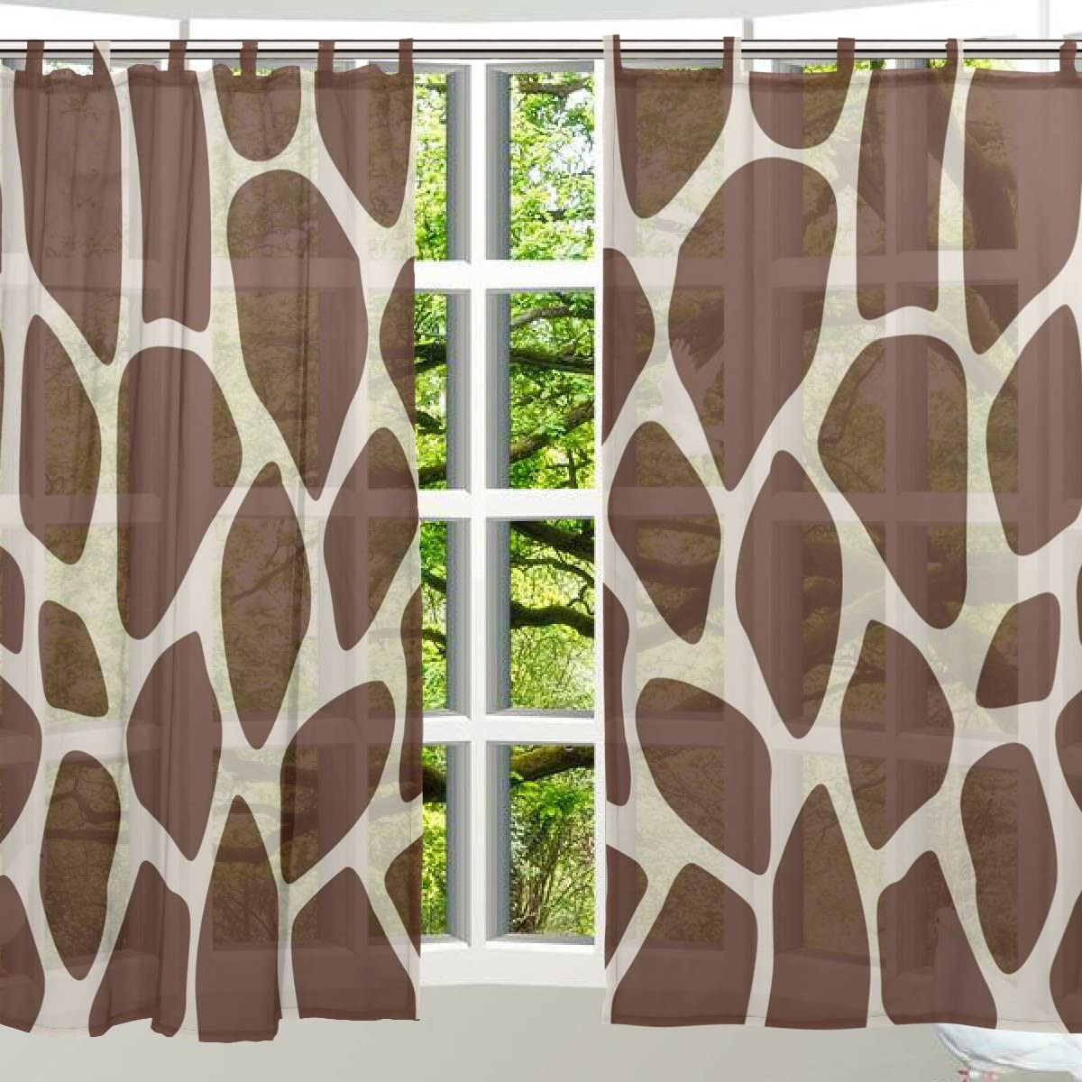 ALAZA 2 PCS Window Decoration Sheer Curtain Panels,Cute Giraffe Print,Polyester Window Gauze Curtains Living Room Bedroom Kid s Office Window Tie Top Curtain 55×78 inch Two Panels Set