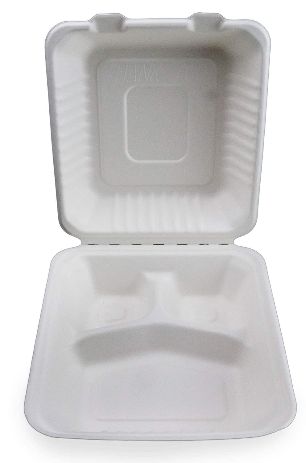 "Footprint-ECO-C093-PW1 200 Pack Fiber 9"" 3-Cavity Take Out Food Containers with Clamshell Hinged Lid (White)"