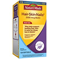Nature Made Hair, Skin & Nails with 2500 mcg of Biotin Softgels, 120 Count Value...