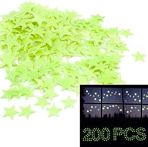 Glow in The Dark Stars, Home-Mart 200PCS Moon & Star Night Light Glow in The Dark Wall Decal Ceiling Sticker Decor