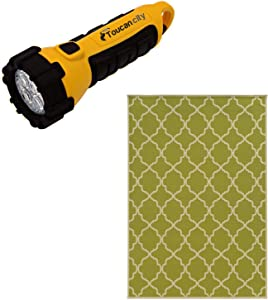 Toucan City LED Flashlight and Home Decorators Collection Newport Lime 4 ft. x 6 ft. Indoor/Outdoor Area Rug 2168520650