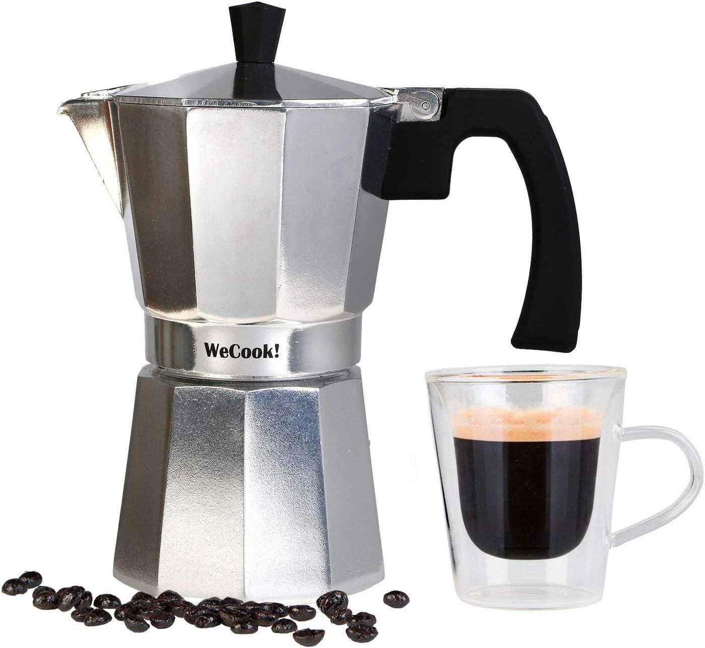 Wecook Paola Cafetera Italiana de aluminio express, 3 tazas café, junta de cierre de silicona, válvula de seguridad, Plata: Amazon.es: Hogar