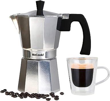 Wecook Paola Cafetera Italiana de Aluminio Express, 1 Taza café, Junta de Cierre de Silicona, válvula de Seguridad, Plata: Amazon.es: Hogar