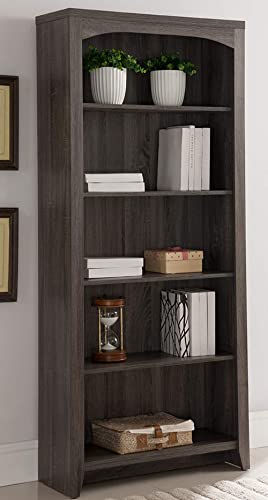 SMART HOME 161532 Bookcase Display Cabinet for Home Office, Distressed Grey Color, 5-Shelf Bookcase