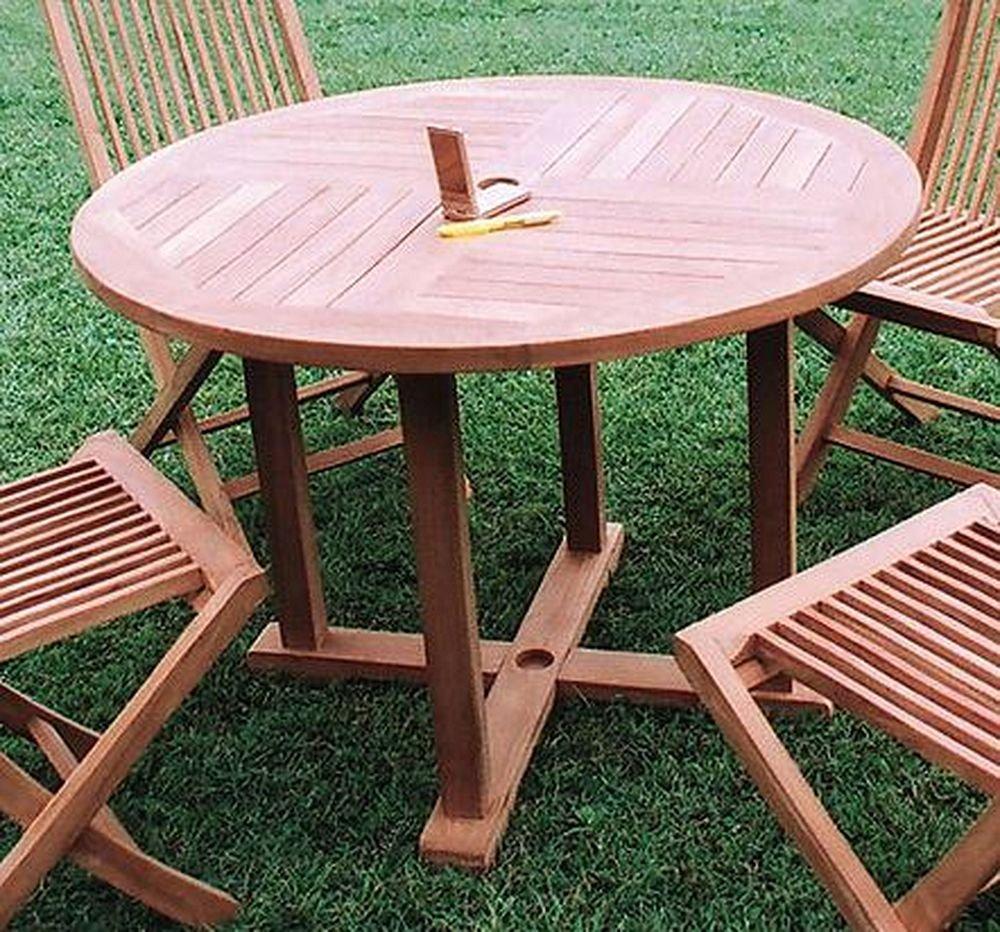 ジャービス商事 天然木無垢材 ガーデンテーブル 丸テーブル1010 20707 テーブルのみ B007CUVQ2C