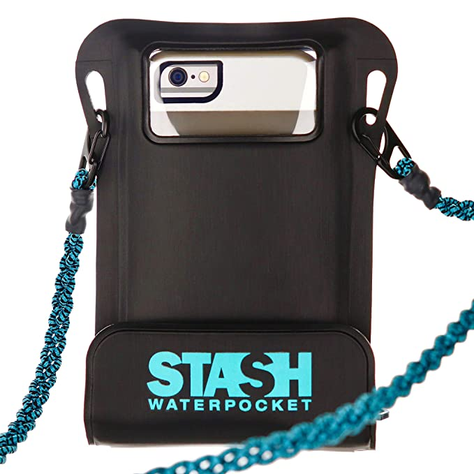 Stash Waterpocket Premium Waterproof Phone Pouch | FOR RECREATIONAL USE Rafting, Fishing, Kayaking, Boating, Snorkeling | For iPhone 6, 6 Plus, 7, 7 Plus, 8, 8 Plus, XS, XS Max, XR, Galaxy S9+, more best waterproof phone pouches