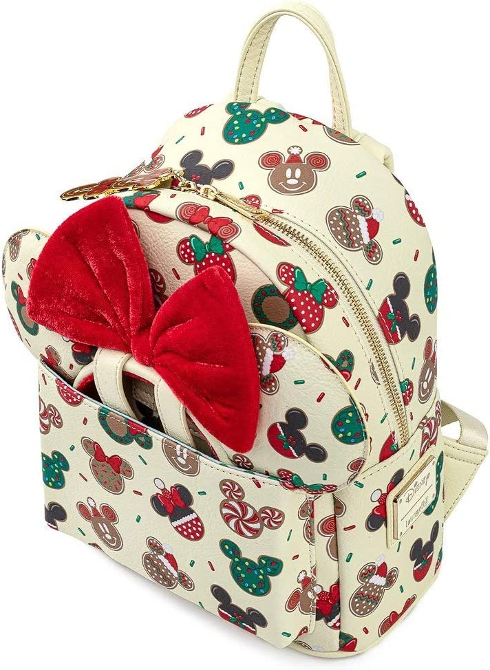 Backpack /& Key Clip New Handmade Exclusive Disney/'s Blue Crystal Iconic Mickey Ears And Candy Cane Present Cute Holiday Purse