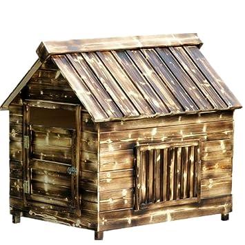 Al aire libre medio de madera de la perrera sólido perro lluvia sol protección perro casa