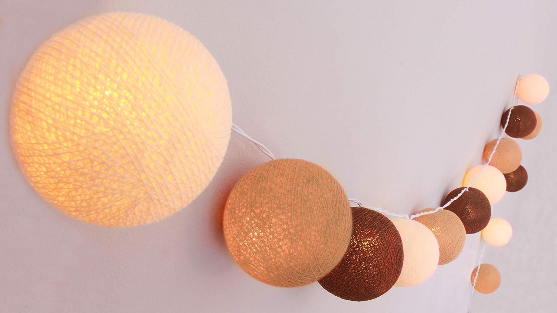 CREATIVECOTTON - Guirnalda de luces (algodón, 5 W, 20 bolas), color morado: Amazon.es: Iluminación
