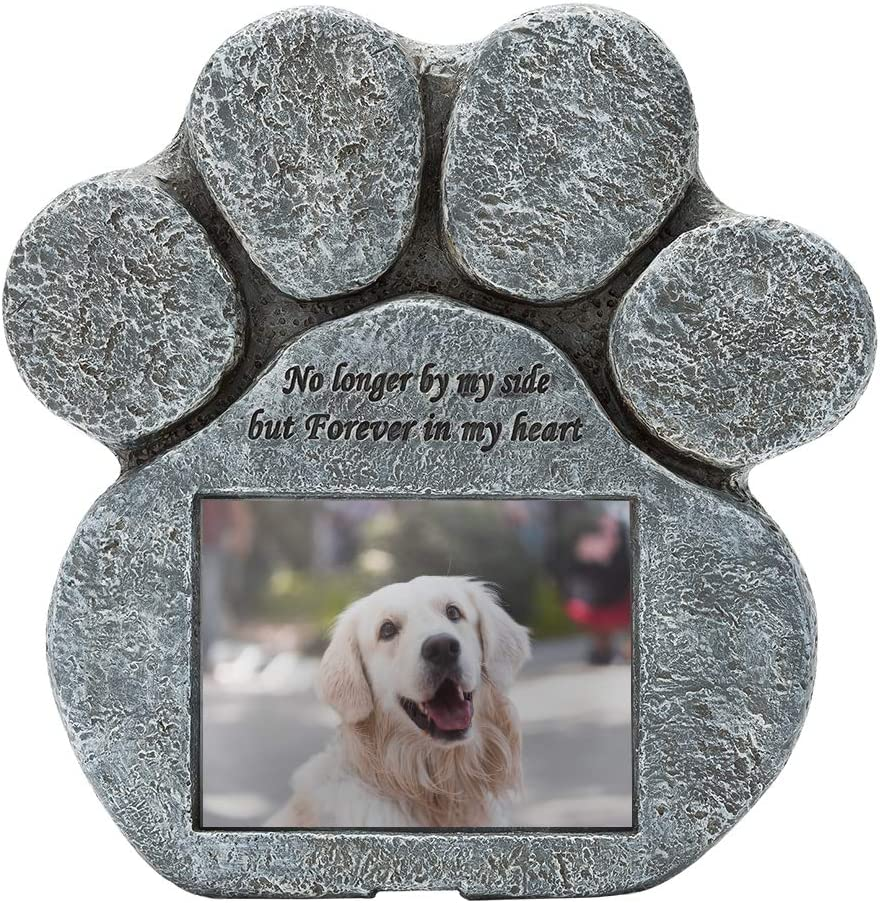 EXPAWLORER Pet Paw Memorial Stone with a Photo Frame and Sympathy Poem, Pet Loss Gigts in Garden Backyard Marker Grave Tombstone for Dogs Cats