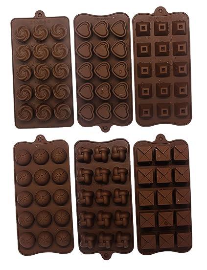Haloong 6 TLG. Backform Pralinenformen Set Silikon Herzform Blumenförmig Silikonbackform für Muffin Pralinen Schokoladenform
