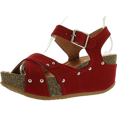 Forever Freya-23 Womens Cork Look Platform Ankle Strap Low Wedge Sandals | Sandals
